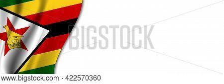 Zimbabwe Flag On White Background. White Background With Place For Text Near The Flag Of Zimbabwe.