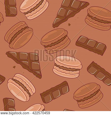 Seamless Pattern With Chocolate Macaroons. Vector Image.