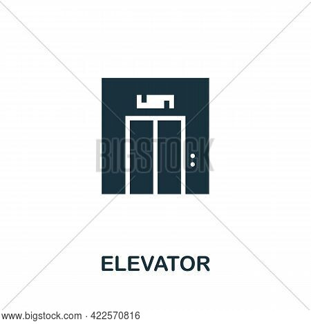Elevator Icon. Monochrome Simple Element From Mall Collection. Creative Elevator Icon For Web Design