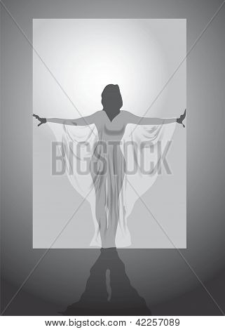 Vector silhouette of the woman