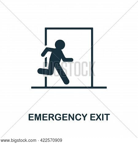Emergency Exit Icon. Monochrome Simple Element From Mall Collection. Creative Emergency Exit Icon Fo
