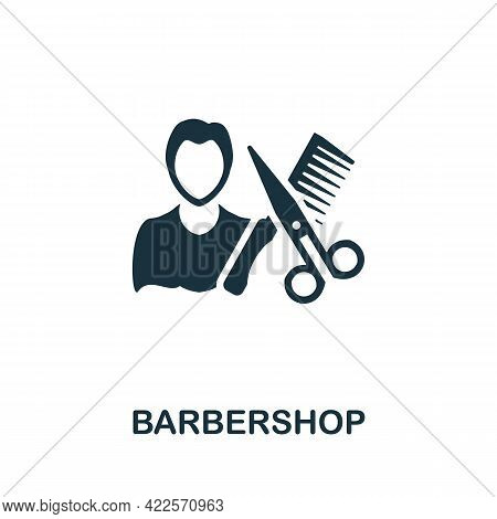 Barbershop Icon. Monochrome Simple Element From Mall Collection. Creative Barbershop Icon For Web De