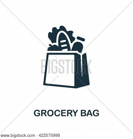 Grocery Bag Icon. Monochrome Simple Element From Mall Collection. Creative Grocery Bag Icon For Web