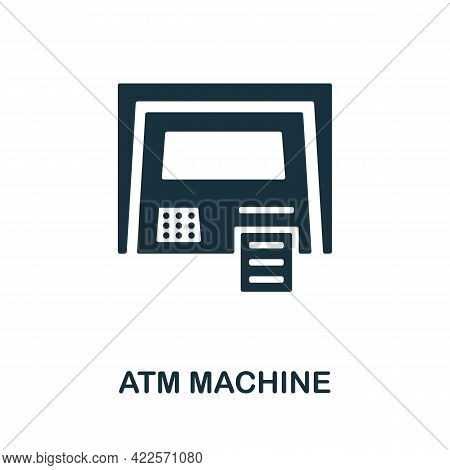 Atm Machine Icon. Monochrome Simple Element From Mall Collection. Creative Atm Machine Icon For Web