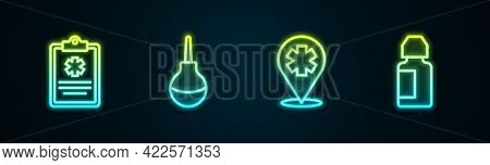 Set Line Clinical Record, Enema, Location With Cross Hospital And Eye Drop Bottle. Glowing Neon Icon