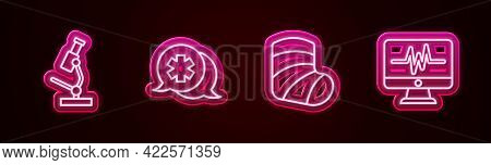 Set Line Microscope, Dialogue With The Doctor, Gypsum And Monitor Cardiogram. Glowing Neon Icon. Vec