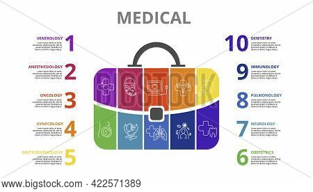 Infographic Medical Template. Icons In Different Colors. Include Venerology, Anesthesiology, Oncolog