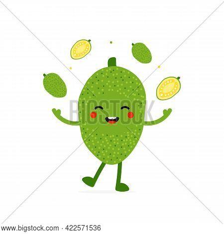 Cute Smiling Cartoon Style Green Jackfruit Character Juggling, Throwing Up In Air Little Jackfruits.