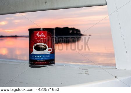 NORWALK, CT, USA - MAY 22, 2021: Melitta Classic Blend coffee can on lifeguard wooden tower