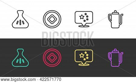 Set Line Dumpling, Chinese Yuan Currency, China Flag And Tea Ceremony On Black And White. Vector