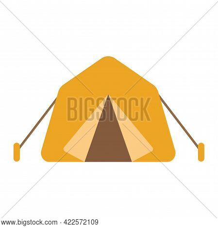 Camping And Hiking Travel Tent. Flat Vector Illustration Isolated On White Background. Front View Of