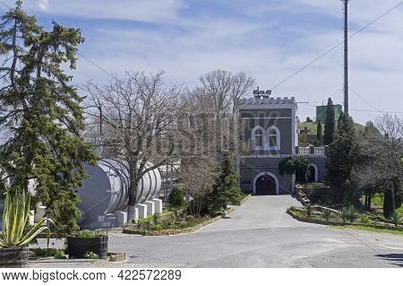 Sudak, Crimea - April 24, 2021: The Old Building Of The