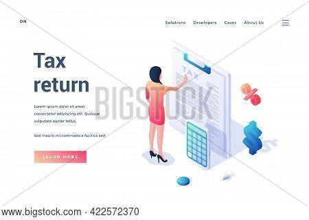 Tax Return. Isometric Landing Page Template. Income Tax Filling. Woman Filling Tax Form. Revenue Dec