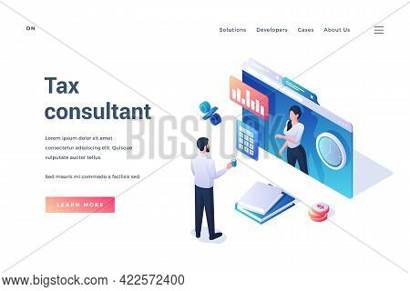 Tax Consultant. Landing Page Template. Man Standing In Front Of Large Screen Of Web Application And