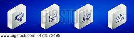 Set Isometric Line Diving Mask, Glasses, Rv Camping Trailer And Shark Fin Ocean Wave Icon. Vector
