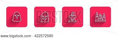 Set Line Ghost, Funny And Scary Ghost Mask, Witch And Burning Candle With Long Shadow. Red Square Bu