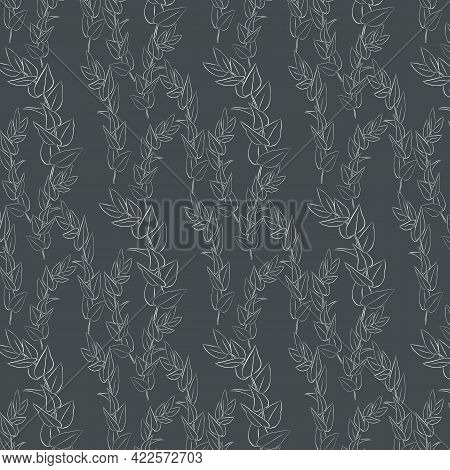 Drawing Linear Leave Branches Vector Pattern On Dark Background. Pattern Is On Swatches Panel