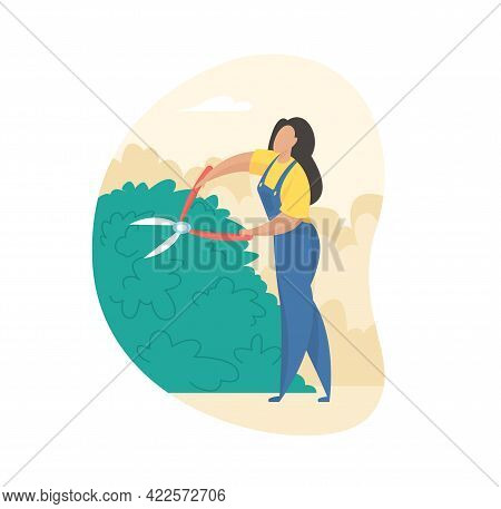 Pruning And Trimming Bushes. Girl In Uniform Carefully Cuts Overgrown Plant With Garden Shears. Crea