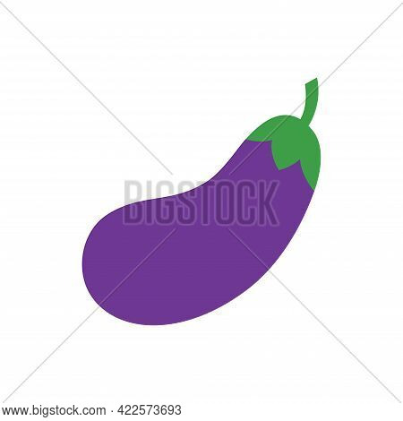Eggplant Vegetable. Fresh Eggplant With Green Stalk Isolated On A White Background.