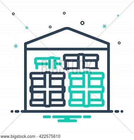 Mix Icon For Merchandise Business Trading Commerce Market Goods Cargo Warehouse Storeroom