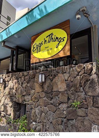 Waikiki - May 10, 2019:  Eggs'n Things Hawaii Sign Outside Restaurant.