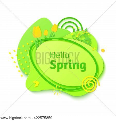 Hello Spring Banner In Paper Cut Style. Green Color Gradient Abstract Layers Cut Out From Cardboard.