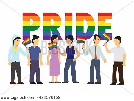 Lgbt Rainbow Flag With Cartoon Characters. Symbol Of Lgbt Community. Concept Of Lgbt, Equality And D