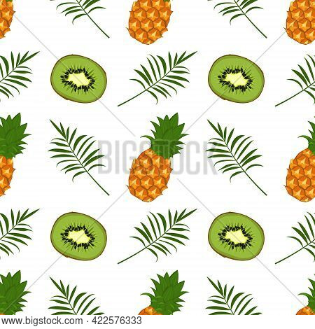Seamless Pattern With Kiwi, Pineapple And Palm Branch. Summer Cute Print With Exotic Food. Backgroun