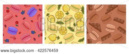 Set Of Seamless Patterns With Macaroons. Vector Image.