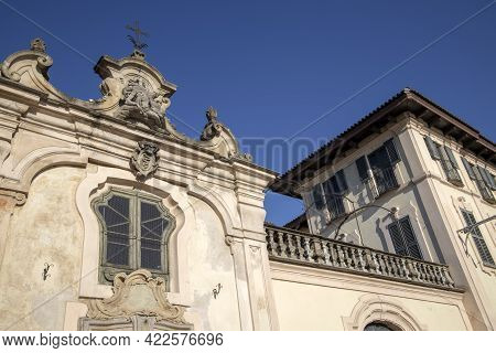 Robecco Sul Naviglio ( Mi ), Italy - April 01, 2021: House Detail At Robecco Sul Naviglio Town And N