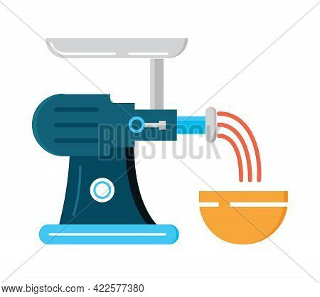 Meat Grinder Flat Icon Vector. Kitchen Small Appliances Sign.