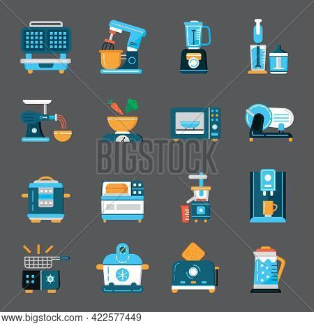 Kitchen Small Appliances Icons Flat Set Vector. Household Tools Symbol For App, Web.