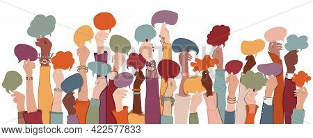 Many Arms And Hands Holding Speech Bubble. Agreement Or Affair Between A Group Of Multiethnic Collea