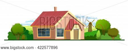 Rural House In The Garden. Half Turn. Cheerful Cartoon Flat Style. Isolated On White Background. Gab