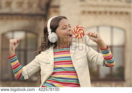 Happy Beauty Singing In Candy. Kid Innovating Education. Happy Childrens Day. Healthy Lifestyle. Sch