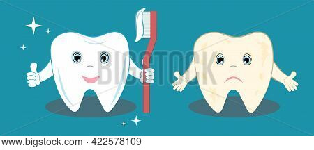 Healthy And Aching Tooth. A Healthy Tooth Is Well Cleaned And Shines. A Bad Tooth Is Sad. Illustrati