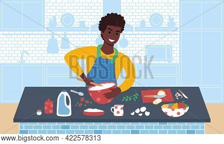 Young Smiling African Man Preparing A Meal. Flat Style Vector Illustration. Ration.