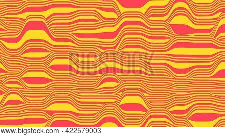 Abstract Vector Background In Red And Yellow Colors. Waves On A Striped Surface.