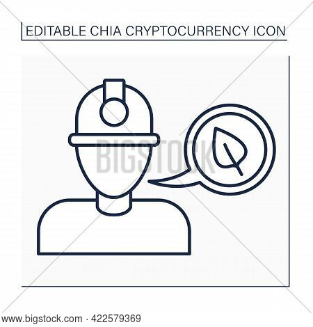 Big Miner Line Icon. Miners Use Hardware To Produce Chia Currency. Global Industry. Digital Money Co