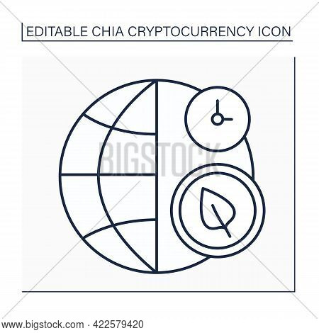 Current Net Space Line Icon. Global Currency Explorer. Chia Peer-to-peer Payment.digital Money Conce