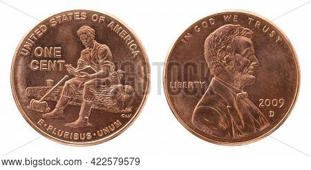 Obverse And Reverse Of 2009 One Cent Copper Us Coin Isolated On White Background