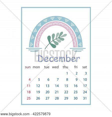 Calendar For December 2022, Color Vector Illustration In Boho Style Pastel Colors.
