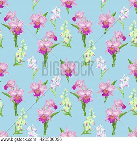 Pink Cattleya Orchid Flower Blossom Seamless Pattern On Blue Background, Illustration Of Petals Plan