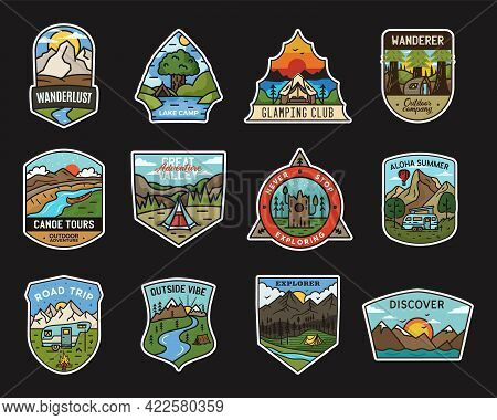 Camping Adventure Stickers Design Bundle. Travel Hand Drawn Emblems. Mountain Outdoors Labels Collec