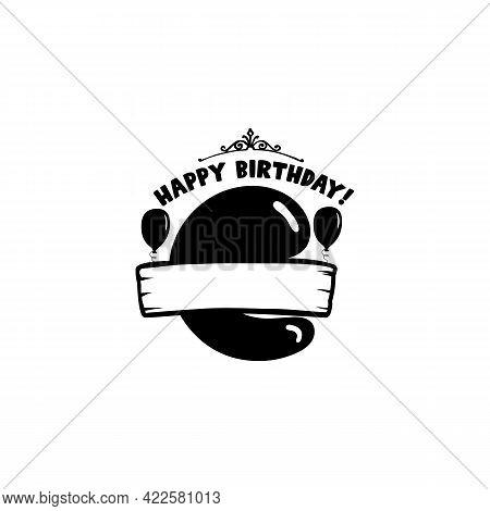 Initial Birthday C Letter. Happy Birthday Monogram Design With Balloons. Alphabet C Template. Stock