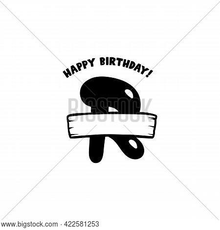 Initial Birthday R Letter. Happy Birthday Monogram Design With Balloons. Alphabet R Template. Stock