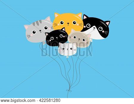Cat Baloon Icon Set. Different Breeds. Cute Kitten Face Head Silhouette. Funny Kawaii Cartoon Baby C