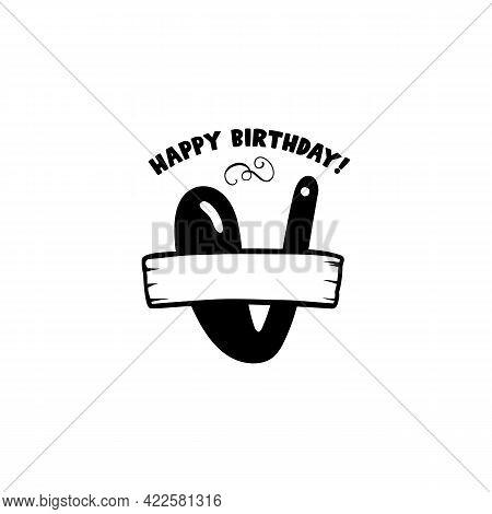 Initial Birthday V Letter. Happy Birthday Monogram Design With Balloons. Alphabet V Template. Stock