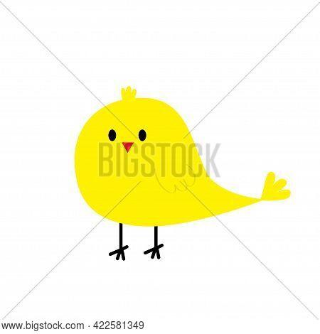 Chicken Bird Icon. Happy Easter. Cute Cartoon Funny Kawaii Baby Chick Character. Kids Tshirt Note Bo