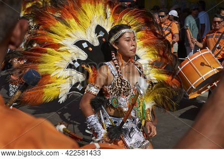 Arica, Chile - January 22, 2016: Tobas Dancers In Traditional Andean Costume Performing At The Annua